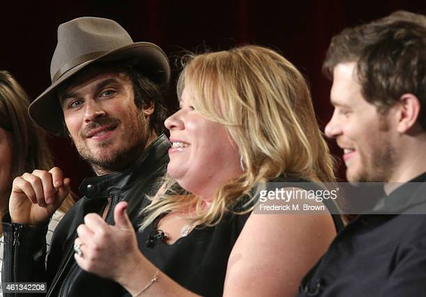 Actor Ian Somerhalder executive producer Julie Plec and actor Joseph Morgan speak onstage during the 'The Vampire Diaries' and 'The Originals' panel...