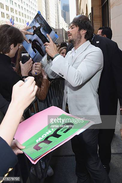 Actor Ian Somerhalder greets fans at the CW Network's 2015 Upfront at the London Hotel on May 14 2015 in New York City
