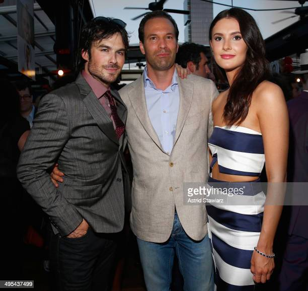 Actor Ian Somerhalder Michael Pierce and Chef Caroline Byron attend The Launch Of EAT DRINK SAVE LIVES at Eataly on June 2 2014 in New York City...