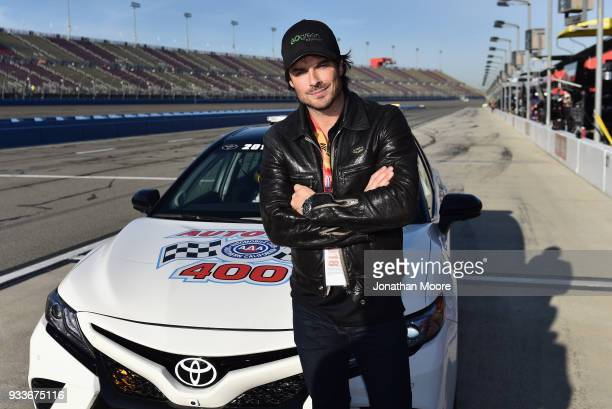 Actor Ian Somerhalder poses for a photo by the pace car prior to the Monster Energy NASCAR Cup Series Auto Club 400 at Auto Club Speedway on March 18...