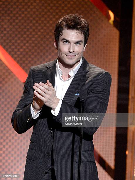 Actor Ian Somerhalder speaks on stage at CW Network's 2013 Young Hollywood Awards presented by Crest 3D White and SodaStream held at The Broad Stage...