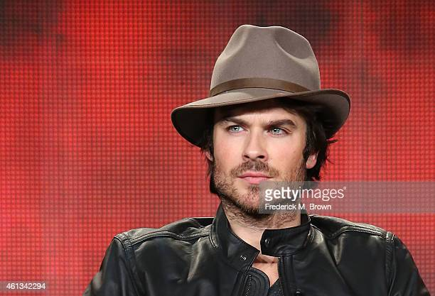 Actor Ian Somerhalder speaks onstage during the 'The Vampire Diaries' and 'The Originals' panel as part of The CW 2015 Winter Television Critics...