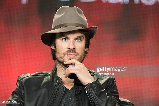 Actor Ian Somerhalder speaks onstage during 'The Vampire Diaries' and 'The Originals' panel as part of The CW 2015 Winter Television Critics...