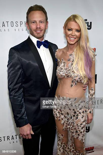 Actor Ian Ziering and actress Tara Reid attend the premiere of Syfy's 'Sharknado The 4th Awakens' at the Stratosphere Casino Hotel on July 31 2016 in...