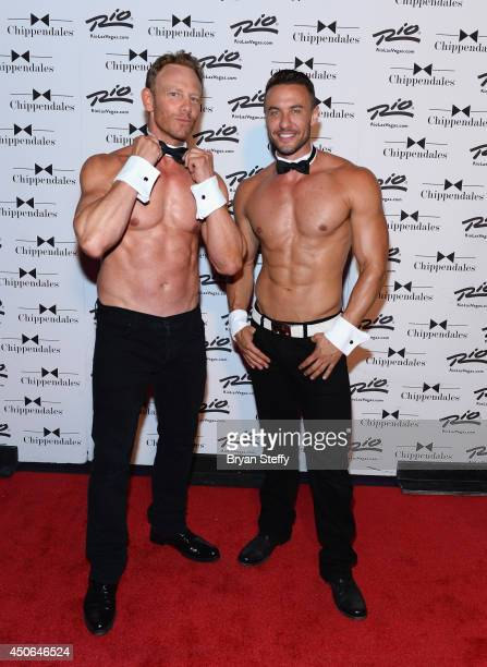 Actor Ian Ziering and Chippendales dancer Ryan Stuart arrive at Chippendales as Ziering returns as Chippendales celebrity guest host at the Rio Hotel...