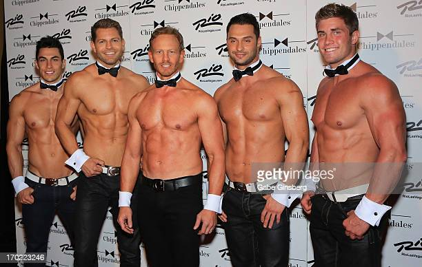 Actor Ian Ziering and Chippendales dancers Jon Howes Jaymes Vaughan James Davis and Gavin McHale arrive during Ziering's debut as a guest host at the...