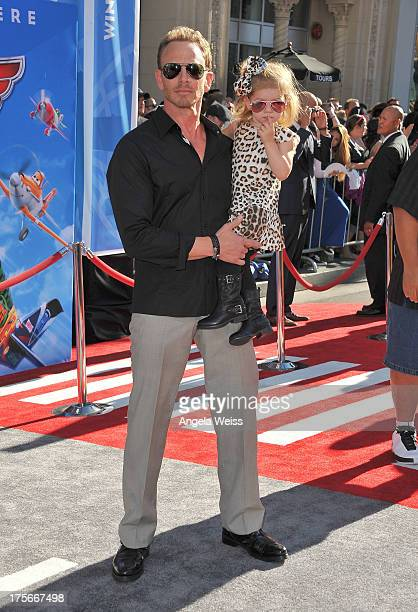 Actor Ian Ziering and daughter Mia Loren arrive at the premiere of Disney's 'Planes' presented by Target at the El Capitan Theatre on August 5 2013...