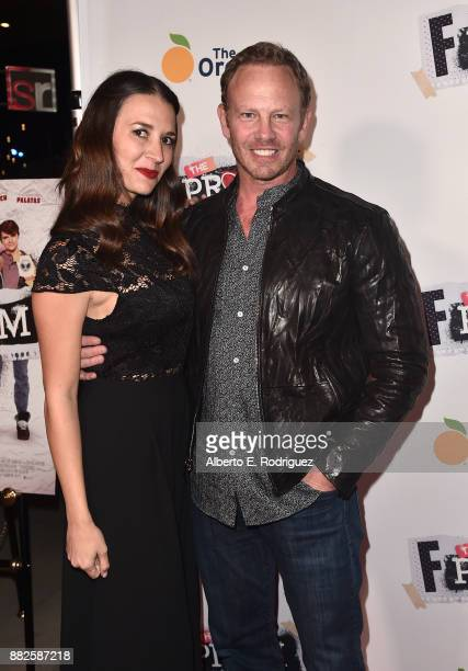 Actor Ian Ziering and Erin Kristine Ludwig attend the premiere Of Orchard And Fine Brothers Entertainment's F*% The Prom at ArcLight Hollywood on...