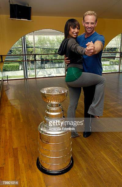 Actor Ian Ziering and his dancing partner Cheryl Burke pose with the Stanley Cup at the 'Dancing With The Stars' rehearsal studios on April 12 2007...