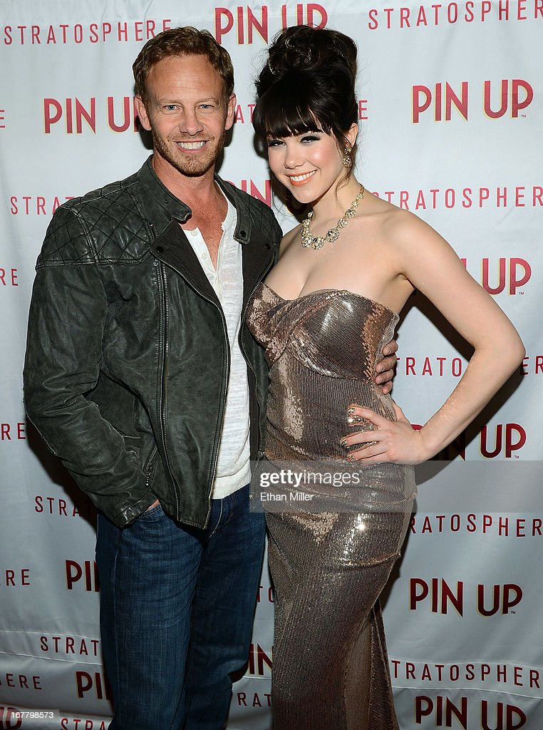 Actor Ian Ziering (L) and model Claire Sinclair arrive at the premiere of the show 'Pin Up' at the Stratosphere Casino Hotel on April 29, 2013 in Las Vegas, Nevada.