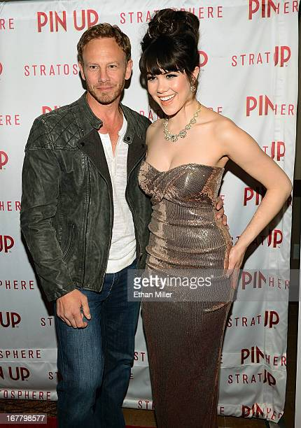 Actor Ian Ziering and model Claire Sinclair arrive at the premiere of the show 'Pin Up' at the Stratosphere Casino Hotel on April 29 2013 in Las...