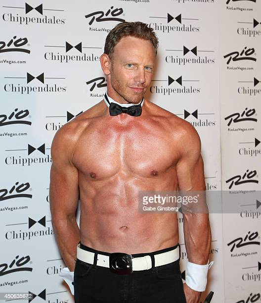 Actor Ian Ziering arrives for his return to the Chippendales stage at the Rio Hotel Casino on June 14 2014 in Las Vegas Nevada