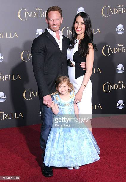 Actor Ian Ziering daughter Mia Loren Ziering and wife Erin Kristine Ludwig attend the premiere of 'Cinderella' at the El Capitan Theatre on March 1...