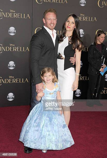 Actor Ian Ziering Erin Kristine Ludwig and Mia Loren Ziering arrive at the World Premiere of Disney's 'Cinderella' at the El Capitan Theatre on March...