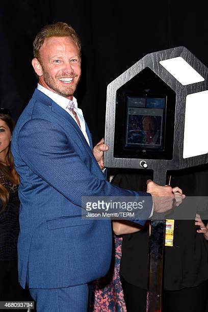 Actor Ian Ziering poses with a selfie station in the press room during the 2015 iHeartRadio Music Awards which broadcasted live on NBC from The...