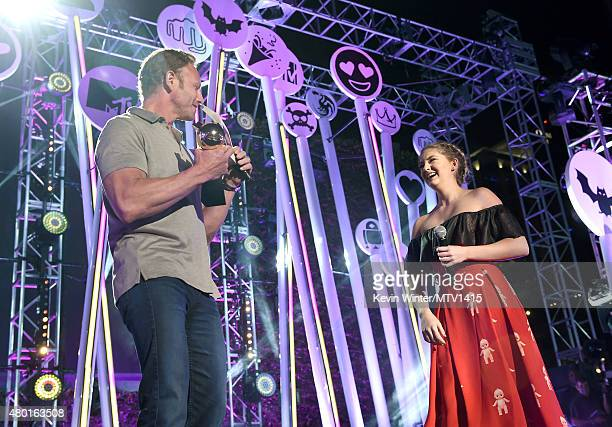 Actor Ian Ziering presents the Fandom of the Year Award to actress Willow Shields onstage during the MTV Fandom Fest San Diego ComicCon at PETCO Park...