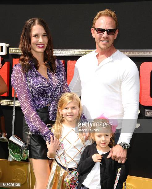 Actor Ian Ziering wife Erin Kristine Ludwig and children Mia Loren Ziering and Penna Mae Ziering attend the premiere of The LEGO Ninjago Movie at...
