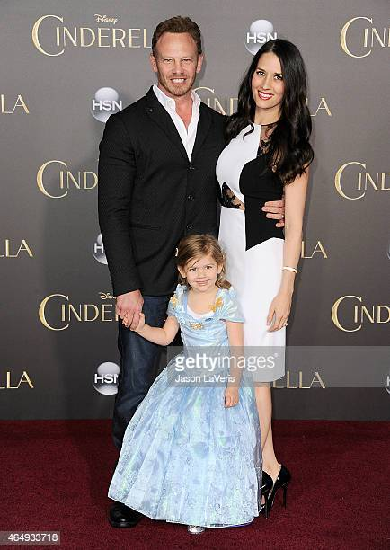 Actor Ian Ziering wife Erin Kristine Ludwig and daughter Mia Loren Ziering attend the premiere of Cinderella at the El Capitan Theatre on March 1...