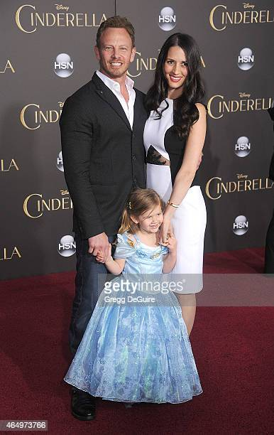 Actor Ian Ziering wife Erin Kristine Ludwig and daughter Mia Loren Ziering arrive at the World Premiere of Disney's Cinderella at the El Capitan...