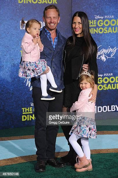 Actor Ian Ziering wife Erin Kristine Ludwig daughter's Mia Loren Ziering and Penna Mae Ziering arrive at the premiere of DisneyPixar's The Good...