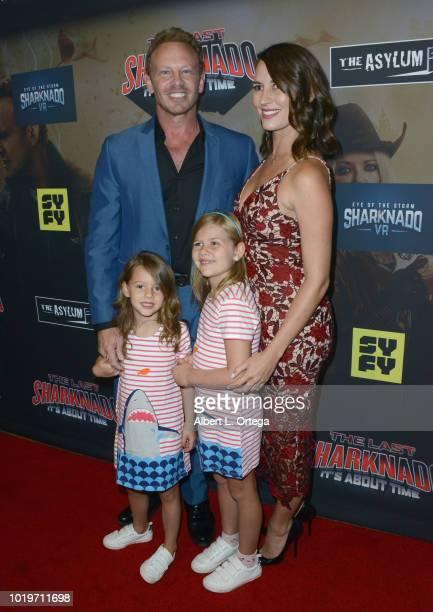 Actor Ian Ziering wife Erin Kristine Ludwig Ziering daughter Penna Mae Ziering and daughter Mia Loren Ziering arrive for the premiere of The Asylum...