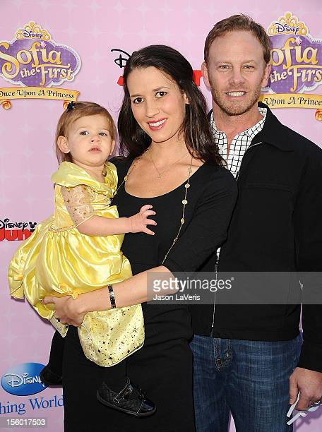 Actor Ian Ziering wife Erin Ludwig and daughter Mia Loren Ziering attend the premiere of Sofia The First Once Upon a Princess at Walt Disney Studios...