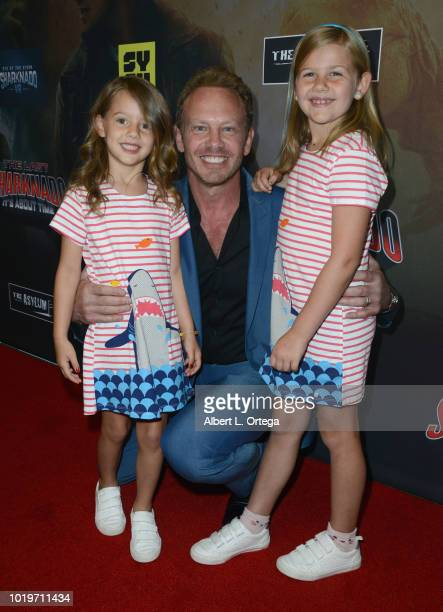 Actor Ian Ziering with daughters Penna Mae and Mia Loren arrive for the premiere of The Asylum and Syfy's The Last Sharknado It's About Time held at...