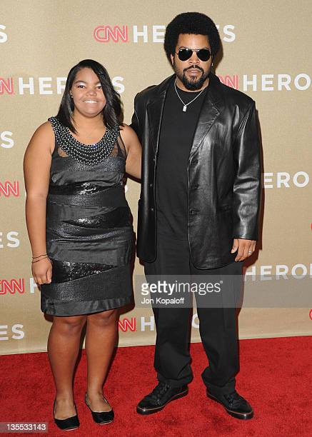 Actor Ice Cube and daughter arrive at the 2011 CNN Heroes An AllStar Tribute at The Shrine Auditorium on December 11 2011 in Los Angeles California