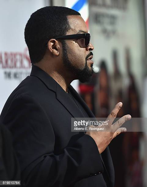 Actor Ice Cube attends the premiere of New Line Cinema's Barbershop The Next Cut at the TCL Chinese Theatre IMAX on April 6 2016 in Hollywood...