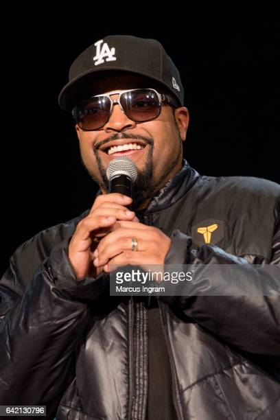 Actor Ice Cube speaks on stage during the FIST FIGHT take over at Clark Atlanta University for an HBCU StrollOff on February 16 2017 in Atlanta...