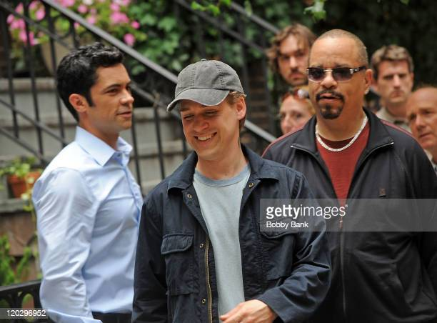 Actor IceT actor TR Knight and actor Danny Pino filming on location for Law Order SVU on the streets of Manhattan on August 3 2011 in New York City