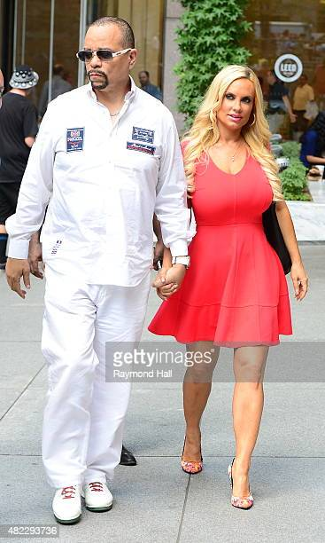 Actor IceT and television personality Coco Austin are seen walking in Midtown on July 29 2015 in New York City