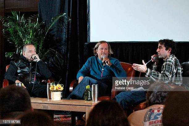 Actor IceT Stacy Peralta and photographer Glen E Friedman attend day 2 of Cinema Cafe presented by Chase Sapphire during the 2012 Sundance Film...