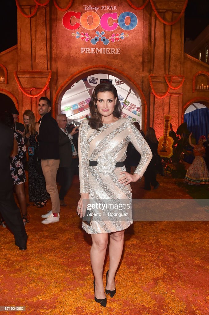 """Actor Idina Menzel of 'Olaf's Frozen Adventure' at the U.S. Premiere of Disney-Pixar's 'Coco' at the El Capitan Theatre on November 8, 2017, in Hollywood, California. 'Olaf's Frozen Adventure' featurette opens in front of Disney-Pixar's original feature """"Coco"""" for a limited time."""