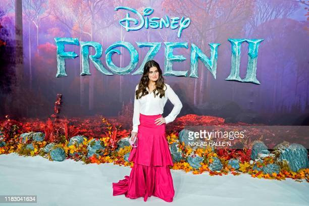 US actor Idina Menzel poses on the red carpet as she arrives to attend the European premiere of the film Frozen 2 in London on November 17 2019