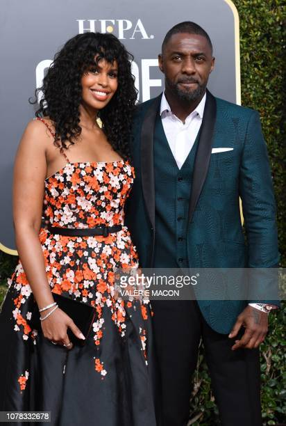 Actor Idris Elba and his fiance model Sabrina Dhowre arrive for the 76th annual Golden Globe Awards on January 6 at the Beverly Hilton hotel in...