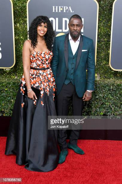 Actor Idris Elba and his fiance model Sabrina Dhowre attend the 76th Annual Golden Globe Awards at The Beverly Hilton Hotel on January 6 2019 in...
