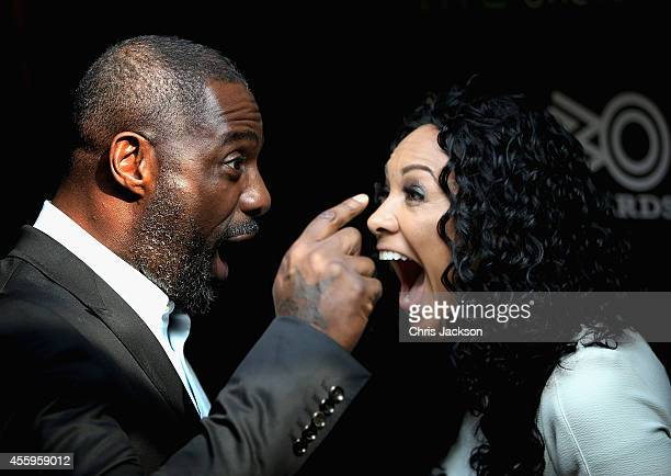 Actor Idris Elba and MOBO Founder Kanya King attend the MOBO Awards nominations launch at Ronnie Scott's Jazz Club on September 23 2014 in London...