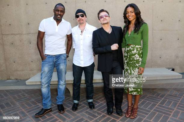 Actor Idris Elba musicians The Edge musician Bono and actress Naomie Harris attend the 25th annual Palm Springs Film Festival Talking Pictures on...