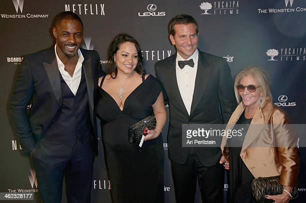 Actor Idris Elba Naiyana Garth actor Bradley Cooper and Gloria Campano attend The Weinstein Company Netflix's 2014 Golden Globes After Party...