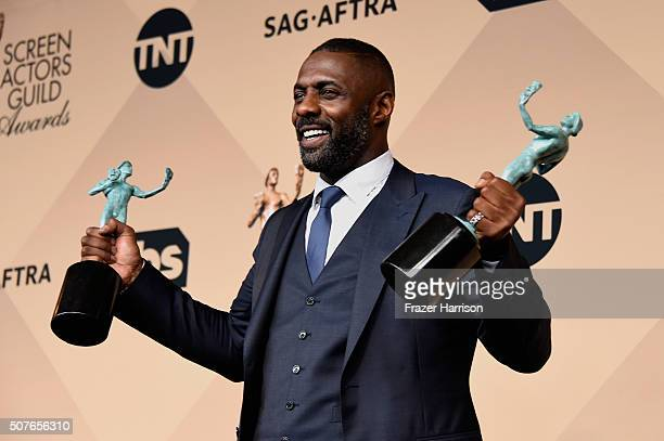 Actor Idris Elba, winner of Outstanding Performance by a Male Actor in a Supporting Role for 'Beasts of No Nation,' and Outstanding Performance by a...