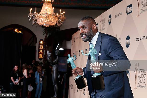 Actor Idris Elba, winner of the awards for Outstanding Performance By a Male Actor in a Supporting Role for 'Beasts of No Nation' and Outstanding...