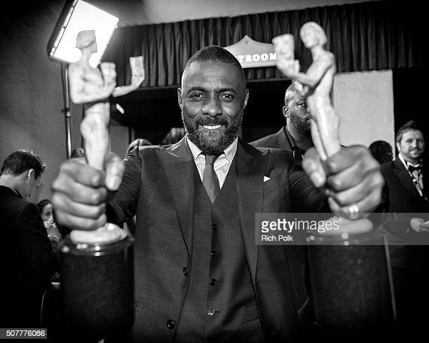 Actor Idris Elba winner of the awards for Outstanding Performance By a Male Actor in a Supporting Role for 'Beasts of No Nation' and Outstanding...