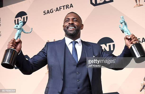 Actor Idris Elba winner of the Outstanding Performance by a Male Actor in a Television Movie or Miniseries and Outstanding Performance by a Male...