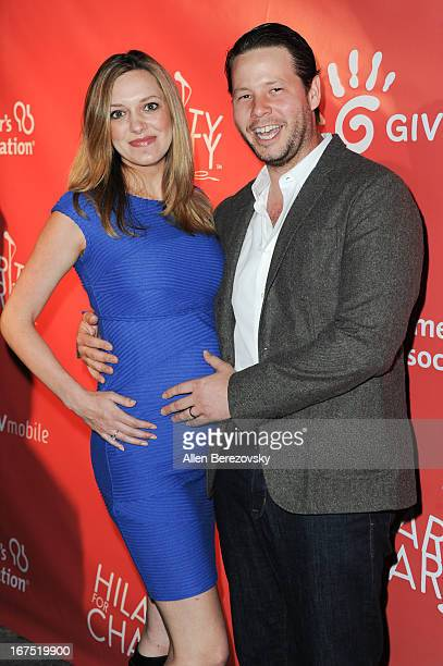 Actor Ike Barinholtz and Erica Hanson arrive at Hilarity For Charity fundraiser benefiting The Alzheimer's Association at Avalon on April 25 2013 in...
