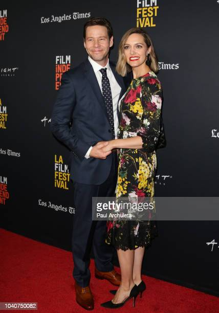 Actor Ike Barinholtz and Producer Erica Hanson attend the screening of The Oath at the 2018 LA Film Festival at ArcLight Hollywood on September 25...
