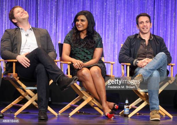 Actor Ike Barinholtz executive producer/actress Mindy Kaling and actor Chris Messina speak during The Paley Center for Media's PaleyFest 2014...
