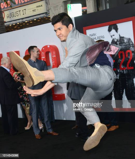 Actor Iko Uwais arrives for the Premiere Of STX Films' 'Mile 22' held at Westwood Village Theatre on August 9 2018 in Westwood California