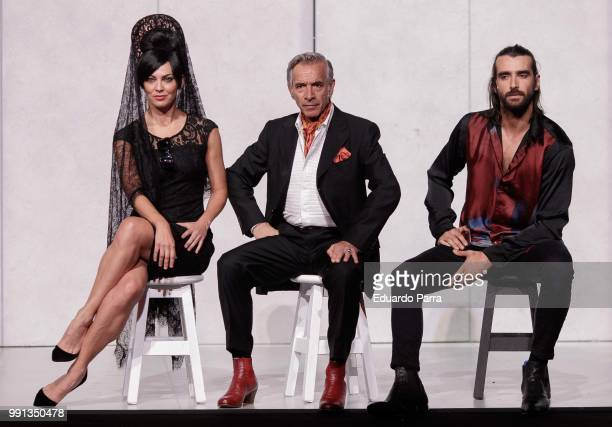Actor Imanol Arias actress Guadalupe Lancho and actor Aitor Luna perform the play 'La vida a palos' at El Canal theatre on July 4 2018 in Madrid Spain