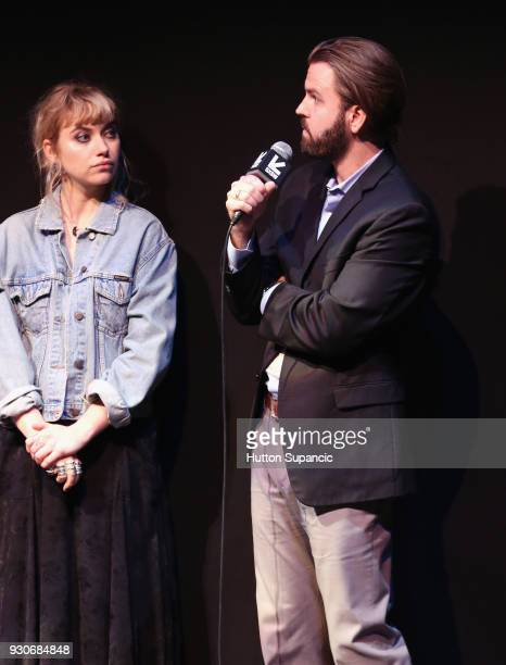 Actor Imogen Poots and director AJ Edwards speak onstage at the premiere of 'Friday's Child ' during SXSW at Vimeo on March 11 2018 in Austin Texas